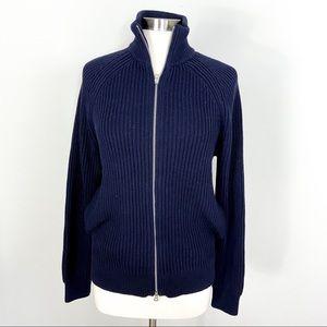 J. Crew Knit Cotton Funnel Neck Zip Sweater-Jacket